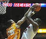 Ole MIss forward Reginald Buckner (2) has his shot blocked by Tennessee's John Fields (25) at the C.M. &quot;Tad&quot; Smith Coliseum in Oxford, Miss. on Satursday, January 29, 2011. Tennessee won 74-57. (AP Photo/Oxford Eagle, Bruce Newman)