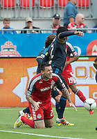 15 September 2012: Philadelphia Union defender Carlos Valdes #2 and Toronto FC forward Eric Hassli #29 in action during an MLS game between the Philadelphia Union and Toronto FC at BMO Field in Toronto, Ontario..The game ended in a 1-1 draw..