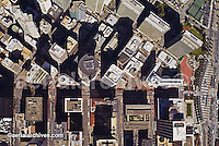 aerial San Francisco downtown financial center Market St--horizontal center & Embarcadero--right Embarcadero Center top right