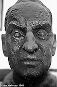 Bust of A.S.Neill's head, Summerhill school, Leiston, Suffolk, UK. 1968.