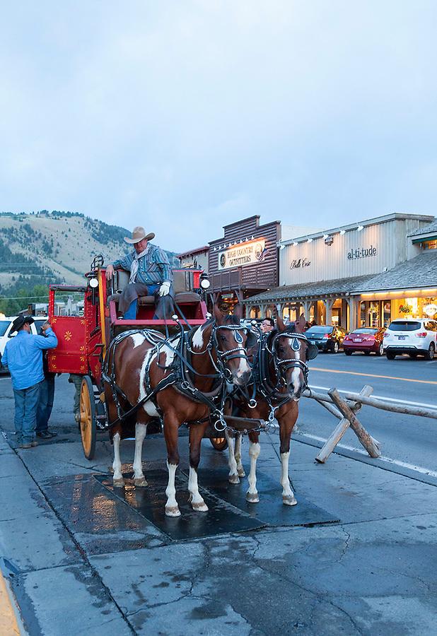 Horse drawn carriage in Jackson Hole, Wyoming, USA Grand Teton National Park, Wyoming, USA,