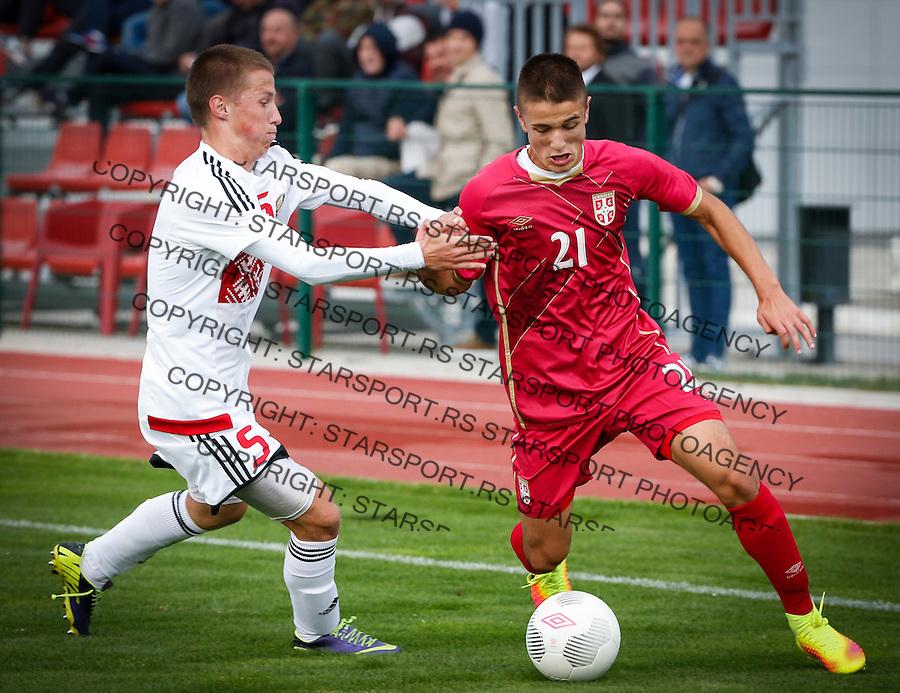 Fudbal Soccer<br /> International Friendly-Prijateljski mec<br /> Srbija U17 v Belorusiaj U17<br /> Radivoj Bosic (R)<br /> Stara Pazova, 20.09.2016<br /> foto: Srdjan Stevanovic/Starsportphoto &copy;