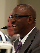 ECU coach Ruffin McNeill is looking svelte after off-season bariatric surgery  at the 9th annual Bill Dooley Pigskin Preview on Thursday, July 21, 2011. Photo by Al Drago.