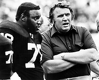 John Madden on the sideline with Art Shell. Photo by Ron Riesterer