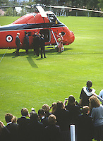 Princess Anne on a May 1985 visit to N Ireland is pictured leaving by helicopter after the official opening of an extension to Belfast Royal Academy's Preparatory Department at its Ben Madigan campus. 19850501e..Copyright Image from Victor Patterson, 54 Dorchester Park, Belfast, UK, BT9 6RJ..Tel: +44 28 9066 1296.Mob: +44 7802 353836.Voicemail +44 20 8816 7153.Skype: victorpattersonbelfast.Email: victorpatterson@me.com.Email: victorpatterson@ireland.com (back-up)..IMPORTANT: If you wish to use this image or any other of my images please go to www.victorpatterson.com and click on the Terms & Conditions. Then contact me by email or phone with the reference number(s) of the image(s) concerned.