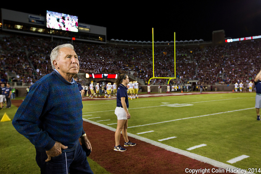 TALLAHASSEE, FLA. 10/18/14-FSU-ND101814CH-ESPN Football Analyst Lee Corso takes in pre-game preparations at the Florida State vs. Notre Dame game Saturday at Doak Campbell Stadium in Tallahassee. <br /> COLIN HACKLEY PHOTO