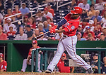 6 August 2016: Washington Nationals outfielder Brian Goodwin makes his first major league plate appearance during a game against the San Francisco Giants at Nationals Park in Washington, DC. The Giants defeated the Nationals 7-1 to even their series at one game apiece. Mandatory Credit: Ed Wolfstein Photo *** RAW (NEF) Image File Available ***