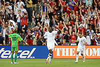 Jozy Altidore USMNT celebrates his goal...USMNT defeated Guadeloupe 1-0 in Gold Cup play at LIVESTRONG Sporting Park, Kansas City, Kansas.