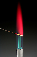 LITHIUM FLAME TEST<br /> Magenta Flame Shows Presence Of Lithium<br /> Alkali metal - Lithium compound is dissociated by flame into gaseous atoms, not ions. The atoms of the element are raised to excited state by high temperature of flame. Excess energy from the atom is emitted as light of a characteristic wavelength.