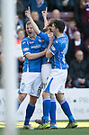 Hearts v St Johnstone&hellip;19.03.16  Tynecastle, Edinburgh<br />Murray Davidson celebrates his first goal with Brian Easton and Joe Shaughnessy<br />Picture by Graeme Hart.<br />Copyright Perthshire Picture Agency<br />Tel: 01738 623350  Mobile: 07990 594431