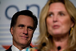 Mitt Romney, former Governor of Massachusetts and potential 2008 Republican candidate for President, and his wife, Ann, speak to the audience at the Conservative Political Action Conference. Washington, D.C., March 2, 2007.