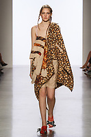 Model walks runway in an outfit by Lyudmila Sullivan, for the 2017 Pratt fashion show on May 4, 2017 at Spring Studios in New York City.