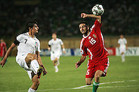 Italy's Claudio Della Penna (7) kicks the ball over the head of Hungary's Bence Zambo (15) to the ball during the FIFA Under 20 World Cup Quarter-final match at the Mubarak Stadium  in Suez, Egypt, on October 09, 2009. Hungary won 2-3 in overtime.