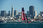 Emirates Team New Zealand in their semi final match race against Artemis Red on day four of the America's Cup World Series, San Francisco. 6/10/2012