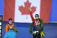 SPEED SKATING: CALGARY: Olympic Oval, 08-03-2015, ISU World Championships Allround, Final Podium Ladies, Ireen Wüst (NED), Martina Sábliková (CZE), ©foto Martin de Jong