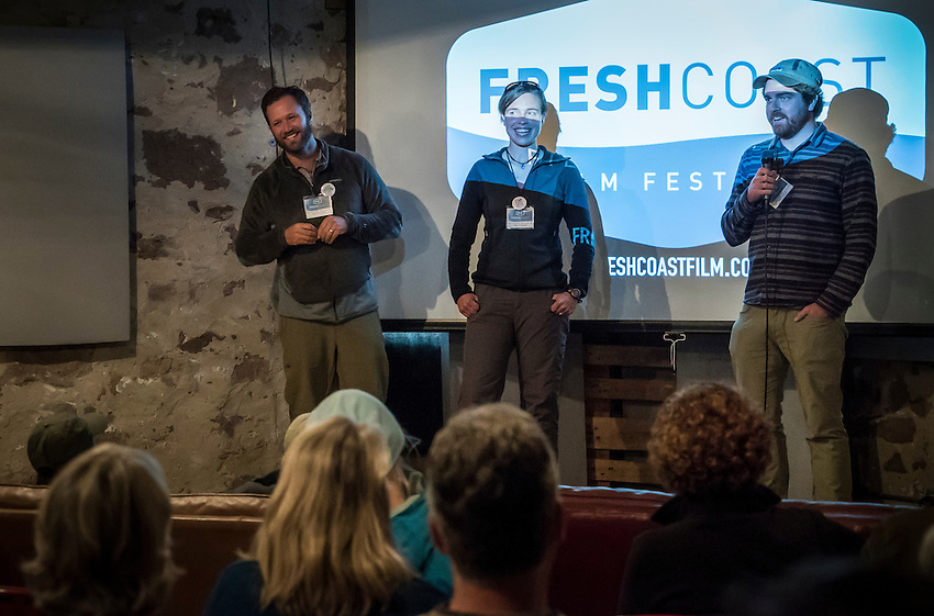 Wilderness advocates Dave and Amy Freeman, left and center, join filmmaker Nate Ptacek on stage to discuss their films during Fresh Coast Film Festival in Marquette, Michigan. The festival, held annually in October, celebrates the outdoor lifestyle and environment of the Great Lakes region.