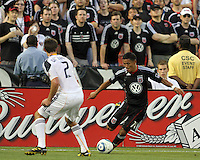 Andy Najar #14 of D.C. United pulls the ball away from Todd Dunivant #2 of the Los Angeles Galaxy during an MLS match at RFK Stadium on July 18 2010, in Washington D.C. Galaxy won 2-1.