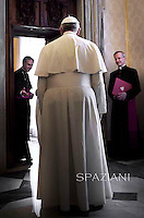 Pope Francis meeting King of Bahrein Isa Al Khalifa.Minister Poland Donald Tusk Vatican. May 19,2014