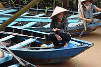 Mekong River<br /> , Vietnam - 2007 File Photo -<br /> <br /> <br /> Mekong Delta woman, on fishing boat.<br /> <br /> <br /> <br /> photo : James Wong-  Images Distribution