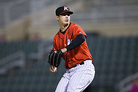 Kannapolis Intimidators relief pitcher Danny Dopico (29) in action against the Lakewood BlueClaws at Kannapolis Intimidators Stadium on April 8, 2017 in Kannapolis, North Carolina.  The BlueClaws defeated the Intimidators 8-4 in 10 innings.  (Brian Westerholt/Four Seam Images)