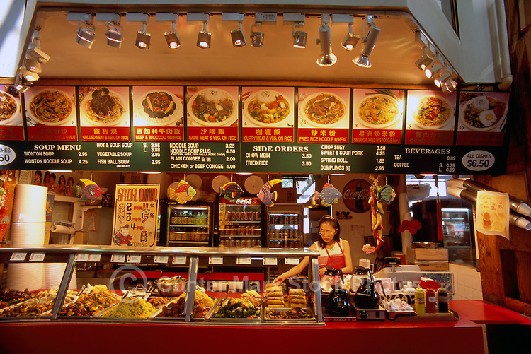 Granville Island Public Market, Vancouver, BC, British Columbia, Canada - Chinese Fast Food Takeaway Counter