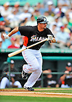 13 March 2012: Miami Marlins infielder Gaby Sanchez in action during a Spring Training game against the Atlanta Braves at Roger Dean Stadium in Jupiter, Florida. The two teams battled to a 2-2 tie playing 10 innings of Grapefruit League action. Mandatory Credit: Ed Wolfstein Photo
