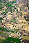 Aerial view of irrigation canal thorugh agricultural landscape outside Mexico City
