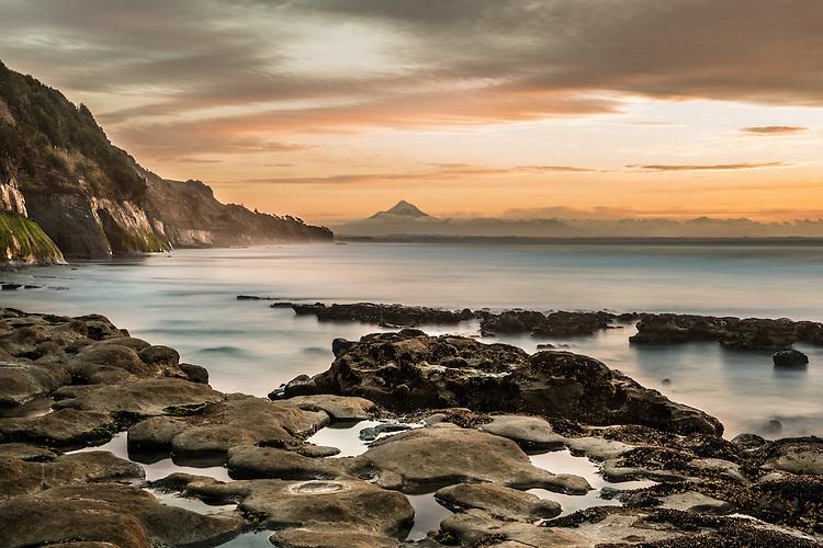 Sunset, Waiiti Beach, Taranaki, New Zealand - stock photo, canvas, fine art print
