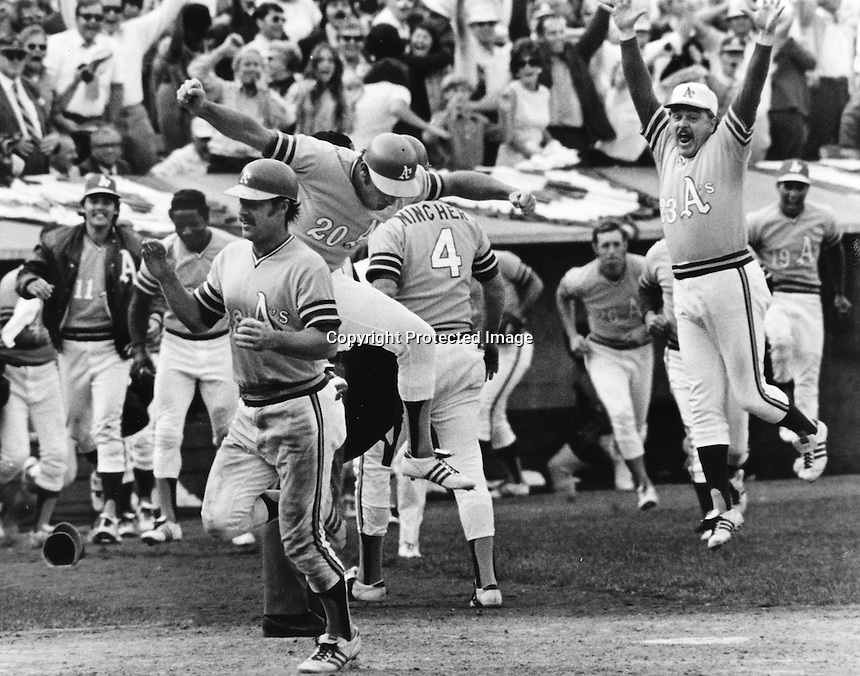 Gene Tenace scores the winning run as the A's win the American League playoffs. Manager Dick Williams jumping right. (copyright 1972 Ron Riesterer)