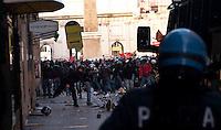 Roma 14 Dicembre 2010.<br /> Manifestazione contro il Governo Berlusconi. I manifestanti assaltono i mezzi della polizia  a via del Corso.<br /> Rome December 14, 2010.<br /> Demonstration against the Berlusconi government. Protesters attack police