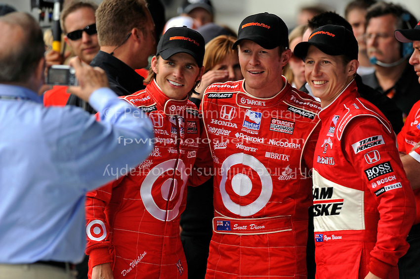10-18 May 2008, Indianapolis,Indiana USA.The front row of Dan Wheldon, Scott Dixon and Ryan Briscoe pose for Floyd Gassani..©2008 F.Peirce Williams USA.