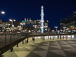 Sergels Torg, a square in Stockholm, Sweden, at night looking at Crystal - vertical accent in glass and steel.