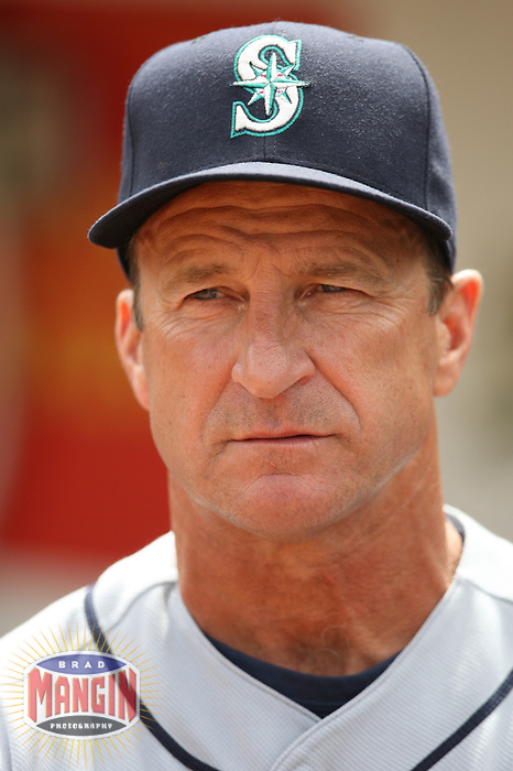 OAKLAND, CA - SEPTEMBER 20:  Manager Jim Riggleman of the Seattle Mariners gets ready in the dugout before the game against the Oakland Athletics at the McAfee Coliseum in Oakland, California on September 20, 2008.  The Athletics defeated the Mariners 8-7.  Photo by Brad Mangin