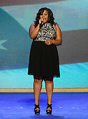 "Amber Riley singer/songwriter and ""Glee"" actress sings the National Anthem at the 2012 Democratic National Convention in Charlotte, North Carolina on Tuesday, September 4, 2012.  .Credit: Ron Sachs / CNP.(RESTRICTION: NO New York or New Jersey Newspapers or newspapers within a 75 mile radius of New York City)"