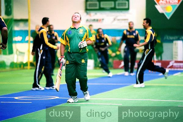 Sri Lanka celebrate the wicket of Ensten Steyn (South Africa). 2002 Indoor Cricket World Masters Championships, Christchurch, New Zealand