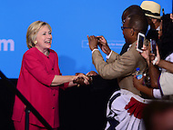 Philadelphia, PA - August 16, 2016: Democratic presidential candidate Hillary Clinton greets supporters before she speaks at a campaign rally in Philadelphia, Pennsylvania, August 16, 2016.  (Photo by Grant Hollman/Media Images International)