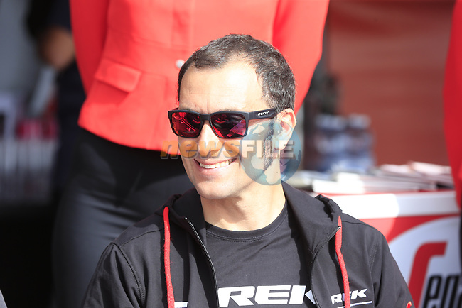 Former winner Ivan Basso (ITA) in the VIP area at sign on before Stage 2 of the 100th edition of the Giro d'Italia 2017, running 221km from Olbia to Tortoli, Sardinia, Italy. 6th May 2017.<br /> Picture: Eoin Clarke | Cyclefile<br /> <br /> <br /> All photos usage must carry mandatory copyright credit (&copy; Cyclefile | Eoin Clarke)