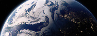 Digitally manipulated image from space with day over the North Atlantic Ocean and night over Europe