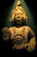 Sculpture of the Maya maize god, Museo de Arqueologia Maya, Copan Ruinas, Honduras