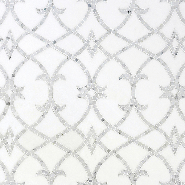 Avila, a handmade mosaic shown in honed Thassos andpolished Statuarietto, is part of the Miraflores Collection by Paul Schatz for New Ravenna.<br />