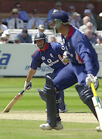 .13/07/2002.Sport - Cricket -NatWest Series Final- Lords.England vs India.Marcus Trescothick and Nasser Hussian Left -running between the wicket..