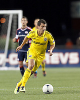 Columbus Crew substitute midfielder Bernardo Anor (7) brings the ball forward. In a Major League Soccer (MLS) match, the New England Revolution tied the Columbus Crew, 0-0, at Gillette Stadium on June 16, 2012.