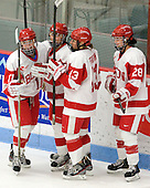 Dakota Woodworth (BU - 11), Isabel Menard (BU - 20), Kaleigh Fratkin (BU - 13), Louise Warren (BU - 28) - The Boston University Terriers defeated the visiting Union College Dutchwomen 6-2 on Saturday, December 13, 2012, at Walter Brown Arena in Boston, Massachusetts.