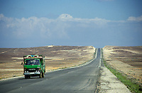Truck on the road between Amman and Qasr Azraq, Jordan.