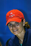 18 June 2004: Mia Hamm of the Washington Freedom wears a Boston Red Sox cap before the game. The Atlanta Beat tied the New York Power 2-2 at the National Sports Center in Blaine, MN in Womens United Soccer Association soccer game featuring guest players from other teams.
