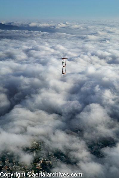 aerial photograph Sutro Tower fog San Francisco, California
