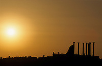Sunset silhouetting the ruins of Volubilis, Morocco.