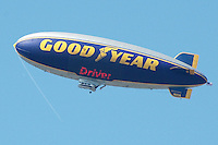 A Goodyear blimp floats above Santa Monica on Friday, June 17, 2011.