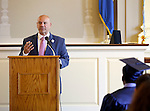 Waterbury, CT- 13 June 2016-061316CM04-Enlightenment School principal Richard Arroyo addresses audience members during the Enlightenment Program graduation at City Hall in Waterbury on Monday.      Christopher Massa Republican-American