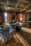 An old hotel in the Black Forest with abandoned furniture